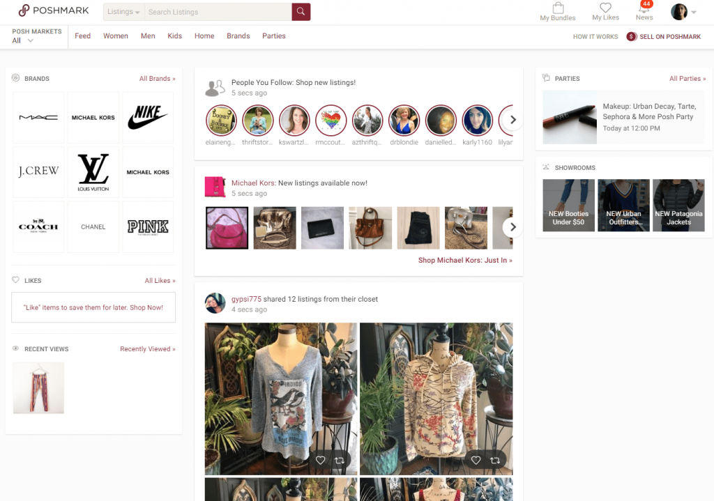 Poshmark Homepage - Make money online when you have a chronic illness
